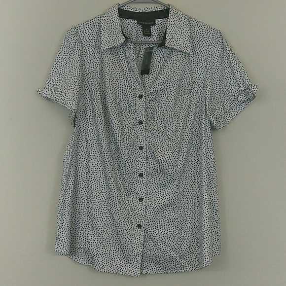 57d544c2c0a Lane Bryant NWT Polka Dot Button Up Blouse